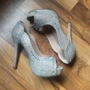 Sparkly rhinestone prom heels